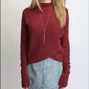 Free People  Burgandy Sweater